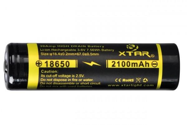 18650 Li-Ion Akku 2100 mAh 3,6 V hochstromfähig 30 A - s